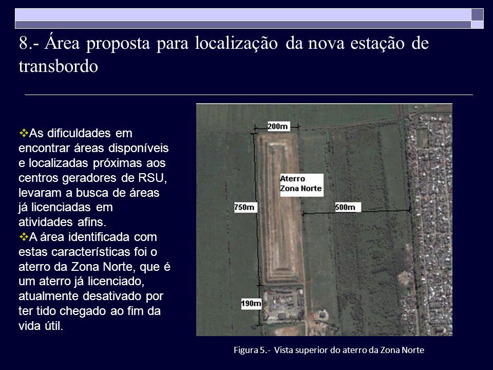 8.- Área proposta para localização da nova estação de transbordo Figura 5.- Vista superior do aterro da Zona Norte As dificuldades em encontrar áreas