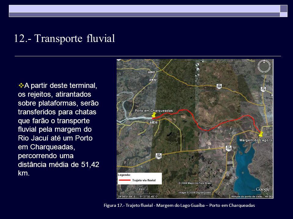 12.- Transporte fluvial A partir deste terminal, os rejeitos, atirantados sobre plataformas, serão transferidos para chatas que farão o transporte flu