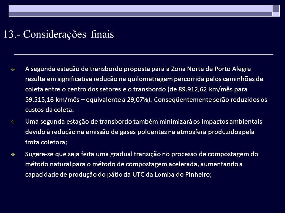 13.- Considerações finais A segunda estação de transbordo proposta para a Zona Norte de Porto Alegre resulta em significativa redução na quilometragem