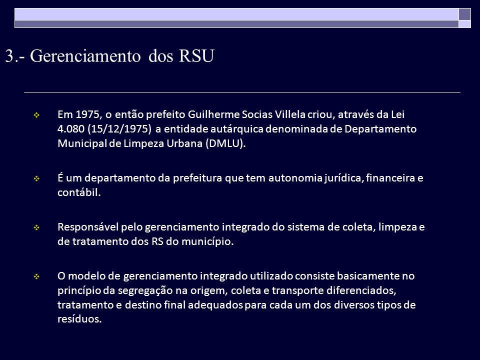 3.- Gerenciamento dos RSU Em 1975, o então prefeito Guilherme Socias Villela criou, através da Lei 4.080 (15/12/1975) a entidade autárquica denominada