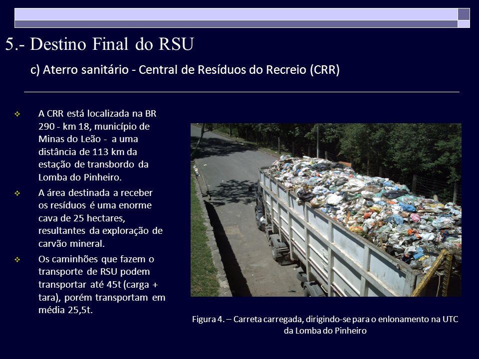 c) Aterro sanitário - Central de Resíduos do Recreio (CRR) A CRR está localizada na BR 290 - km 18, município de Minas do Leão - a uma distância de 11