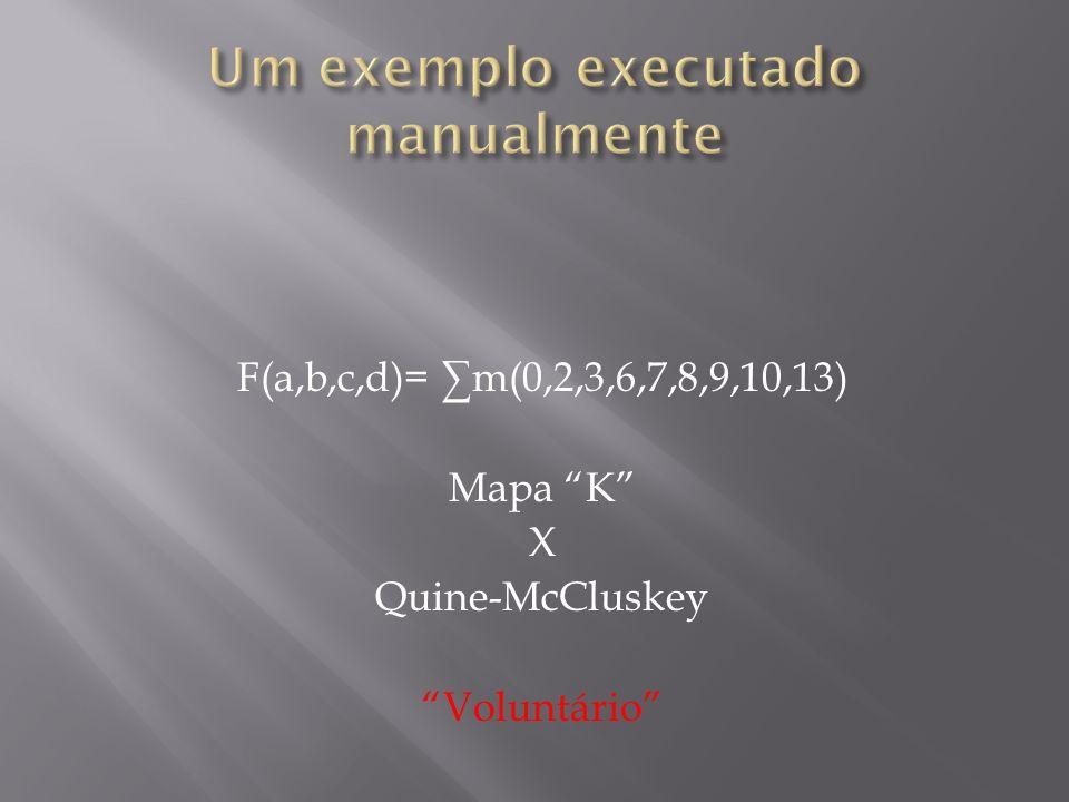 F(a,b,c,d)= m(0,2,3,6,7,8,9,10,13) Mapa K X Quine-McCluskey Voluntário