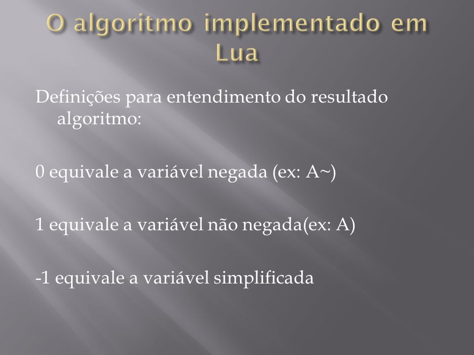Definições para entendimento do resultado algoritmo: 0 equivale a variável negada (ex: A~) 1 equivale a variável não negada(ex: A) -1 equivale a variá