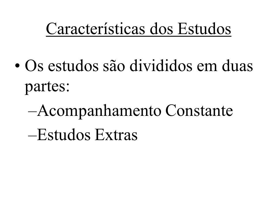 Características dos Estudos Os estudos são divididos em duas partes: –Acompanhamento Constante –Estudos Extras