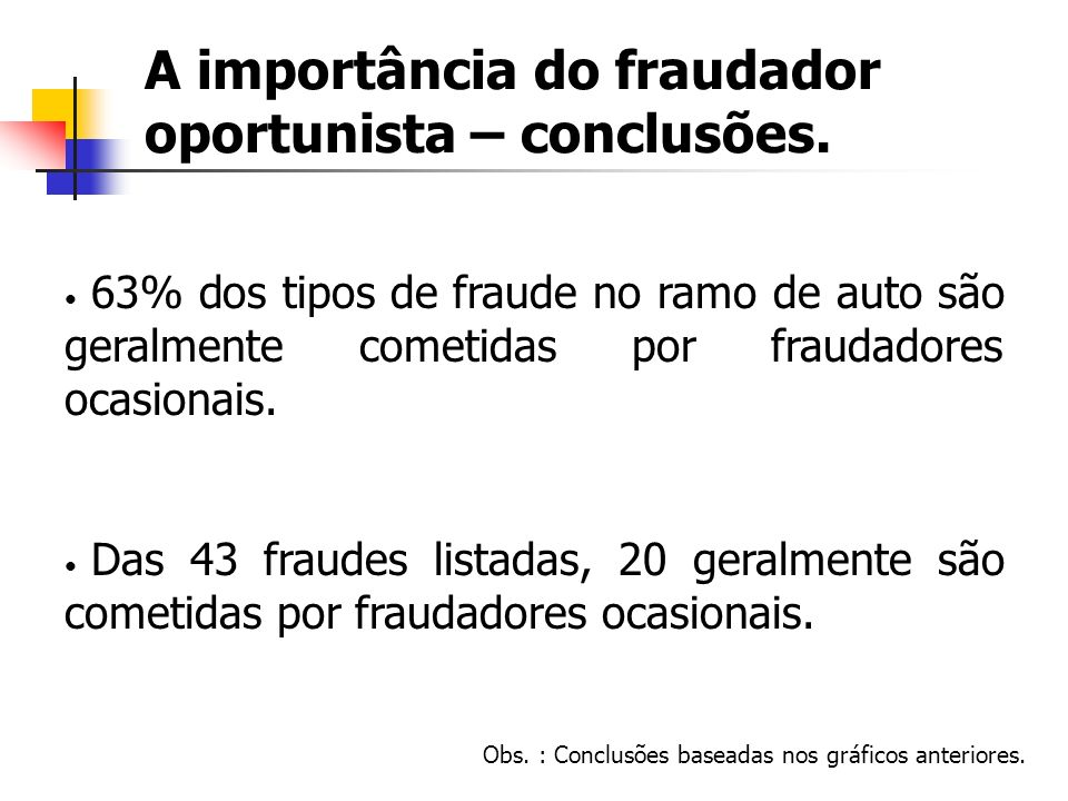 A importância do fraudador oportunista – conclusões. 63% dos tipos de fraude no ramo de auto são geralmente cometidas por fraudadores ocasionais. Das