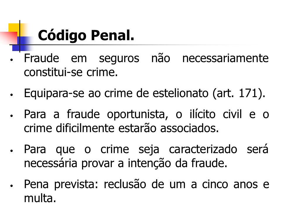 Código Penal. Fraude em seguros não necessariamente constitui-se crime. Equipara-se ao crime de estelionato (art. 171). Para a fraude oportunista, o i