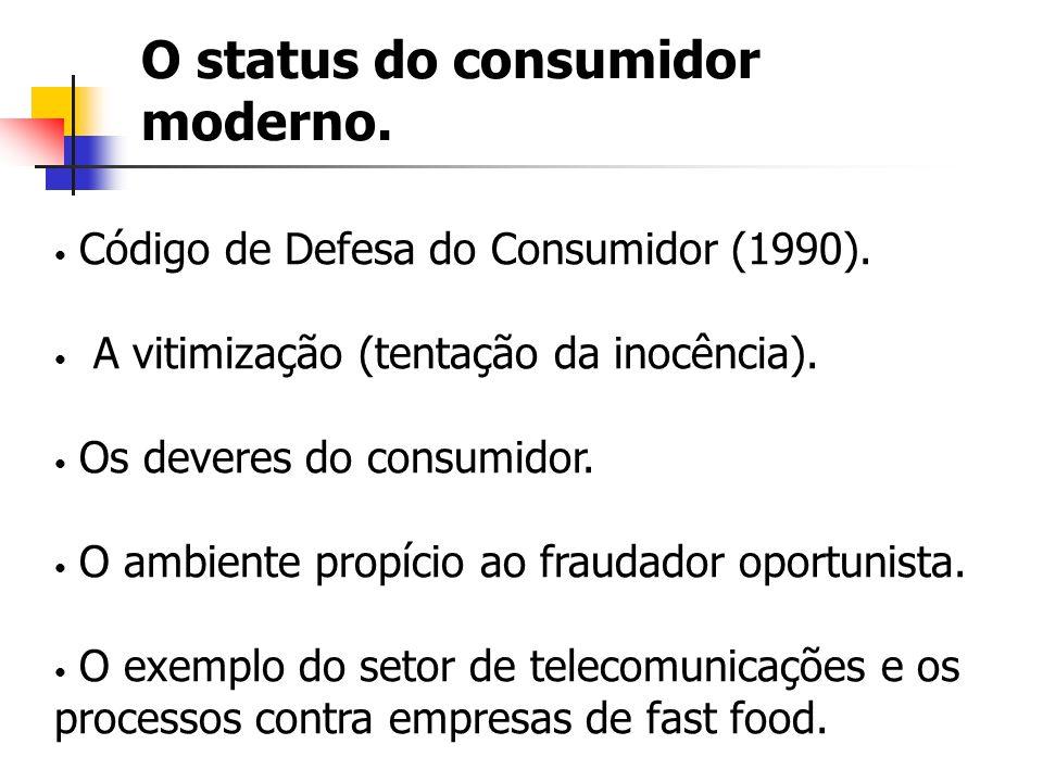 O status do consumidor moderno. Código de Defesa do Consumidor (1990). A vitimização (tentação da inocência). Os deveres do consumidor. O ambiente pro