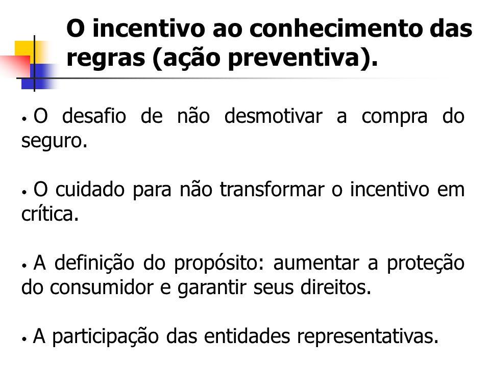 O incentivo ao conhecimento das regras (ação preventiva). O desafio de não desmotivar a compra do seguro. O cuidado para não transformar o incentivo e