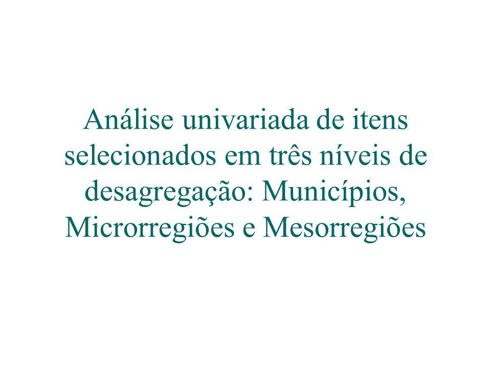 Análise univariada de itens selecionados em três níveis de desagregação: Municípios, Microrregiões e Mesorregiões