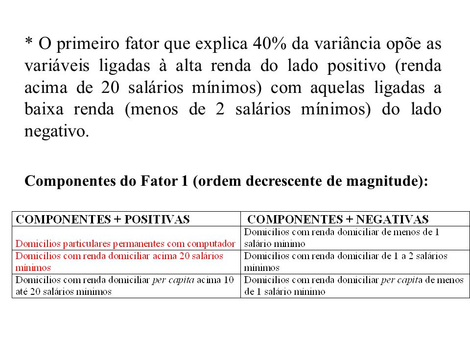 * O primeiro fator que explica 40% da variância opõe as variáveis ligadas à alta renda do lado positivo (renda acima de 20 salários mínimos) com aquel