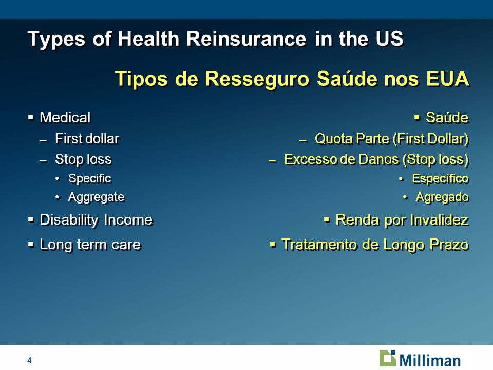 4April 1, 2014 Types of Health Reinsurance in the US Medical – First dollar – Stop loss Specific Aggregate Disability Income Long term care Medical – First dollar – Stop loss Specific Aggregate Disability Income Long term care Tipos de Resseguro Saúde nos EUA Saúde – Quota Parte (First Dollar) – Excesso de Danos (Stop loss) Específico Agregado Renda por Invalidez Tratamento de Longo Prazo Saúde – Quota Parte (First Dollar) – Excesso de Danos (Stop loss) Específico Agregado Renda por Invalidez Tratamento de Longo Prazo