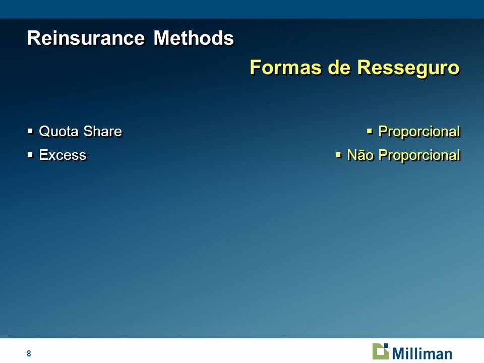 8April 1, 2014 Reinsurance Methods Quota Share Excess Quota Share Excess Formas de Resseguro Proporcional Não Proporcional Proporcional Não Proporcional