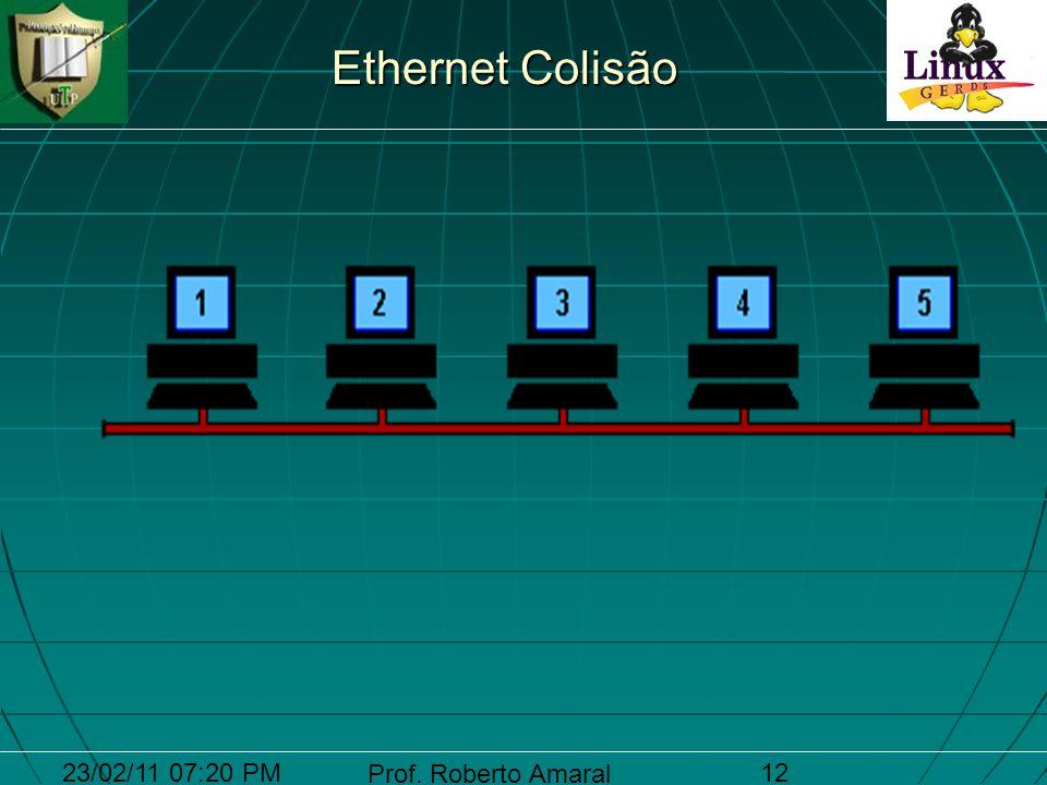 23/02/11 07:20 PM Prof. Roberto Amaral 12 Ethernet Colisão