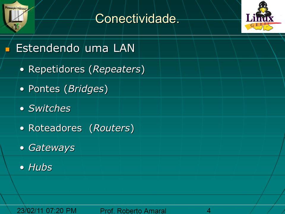 23/02/11 07:20 PM Prof. Roberto Amaral 4 Conectividade. Estendendo uma LAN Estendendo uma LAN Repetidores (Repeaters)Repetidores (Repeaters) Pontes (B