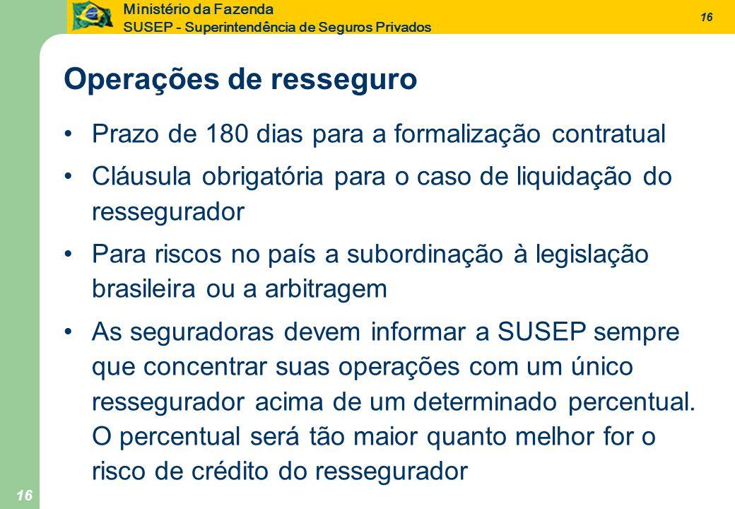 16 Ministério da Fazenda SUSEP - Superintendência de Seguros Privados 16 Prazo de 180 dias para a formalização contratual Cláusula obrigatória para o