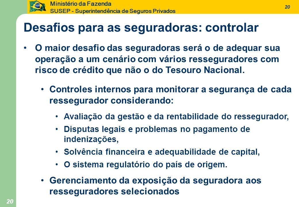 20 Ministério da Fazenda SUSEP - Superintendência de Seguros Privados 20 O maior desafio das seguradoras será o de adequar sua operação a um cenário c