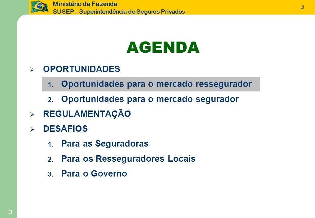 3 Ministério da Fazenda SUSEP - Superintendência de Seguros Privados 3 AGENDA OPORTUNIDADES 1. Oportunidades para o mercado ressegurador 2. Oportunida