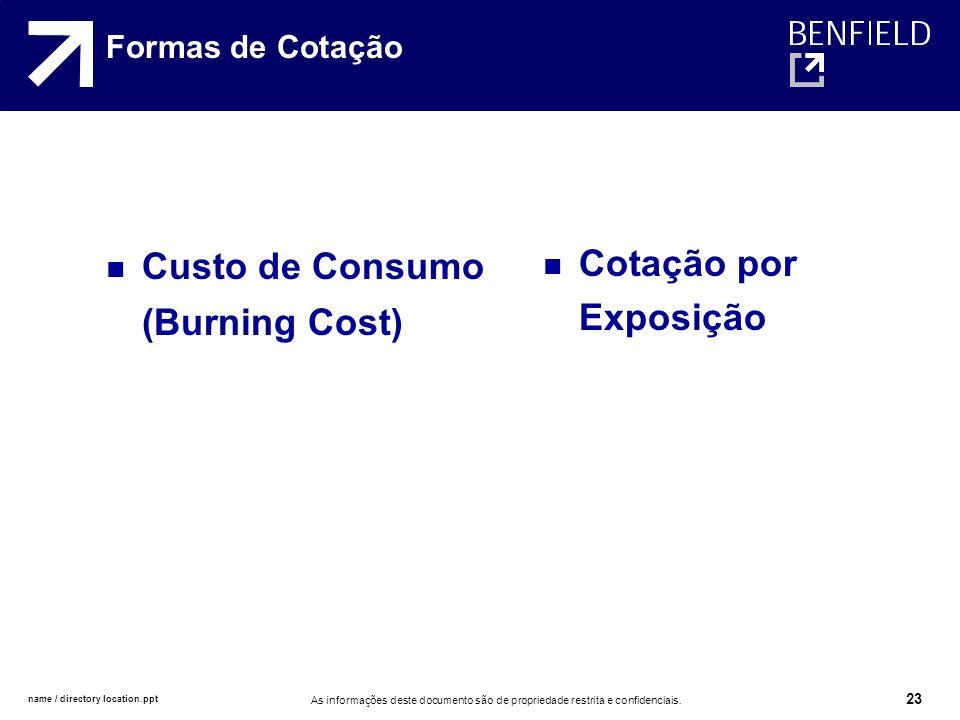 name / directory location.ppt As informações deste documento são de propriedade restrita e confidenciais. 23 Formas de Cotação Custo de Consumo (Burni