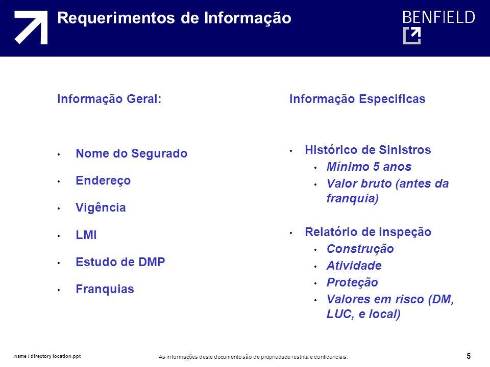 name / directory location.ppt As informações deste documento são de propriedade restrita e confidenciais. 5 Requerimentos de Informação Informação Ger