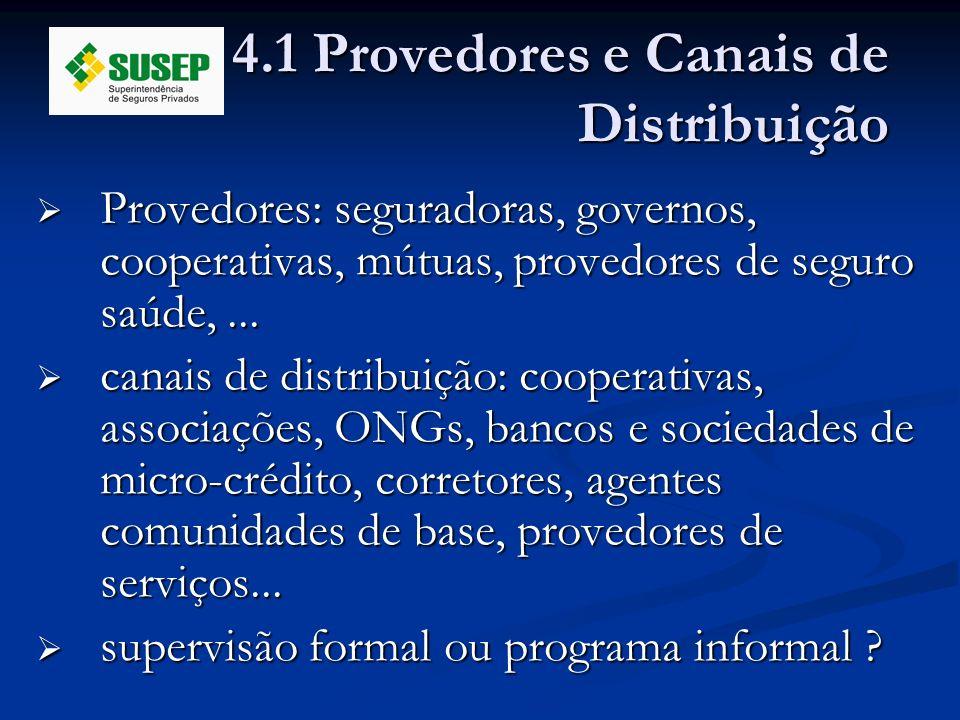 4.1 Provedores e Canais de Distribuição Provedores: seguradoras, governos, cooperativas, mútuas, provedores de seguro saúde,... Provedores: seguradora