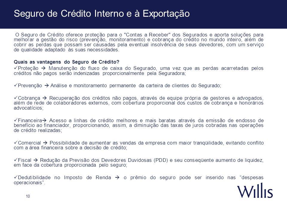 10 Seguro de Crédito Interno e à Exportação O Seguro de Crédito oferece proteção para o