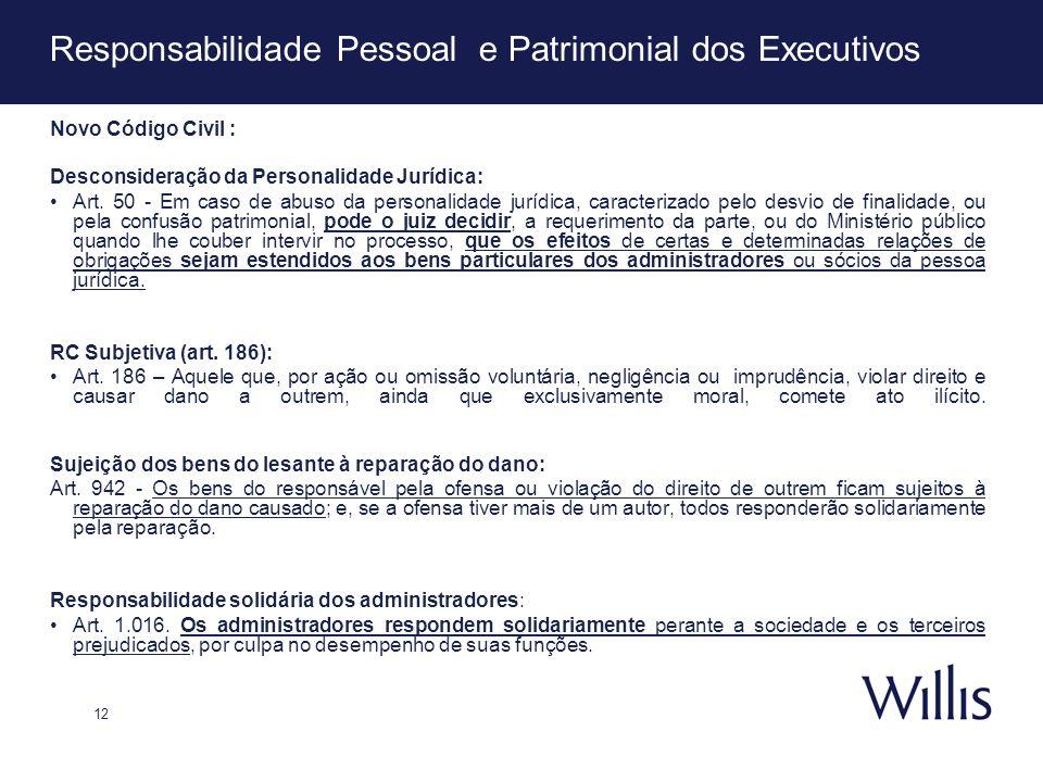 12 Responsabilidade Pessoal e Patrimonial dos Executivos Novo Código Civil : Desconsideração da Personalidade Jurídica: Art. 50 - Em caso de abuso da