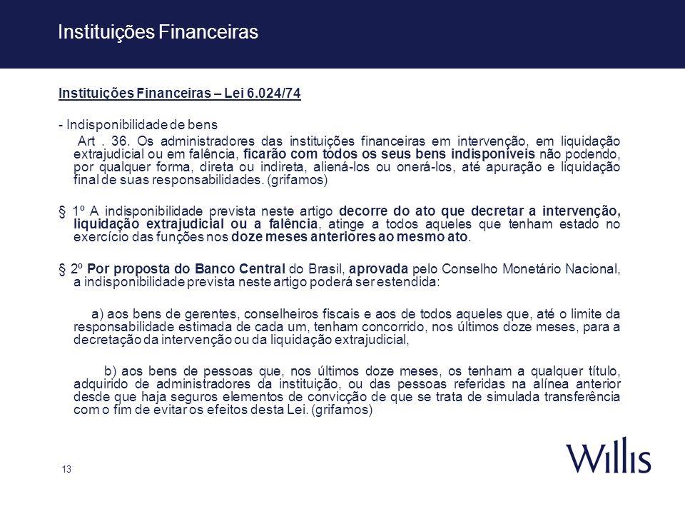 13 Instituições Financeiras Instituições Financeiras – Lei 6.024/74 - Indisponibilidade de bens Art. 36. Os administradores das instituições financeir