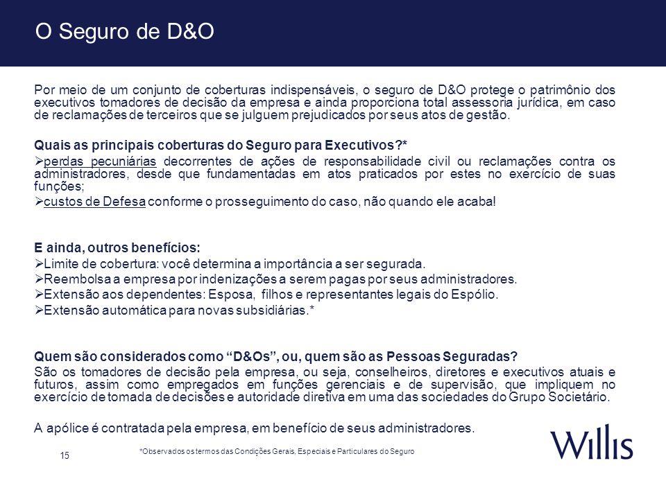 15 O Seguro de D&O Por meio de um conjunto de coberturas indispensáveis, o seguro de D&O protege o patrimônio dos executivos tomadores de decisão da e
