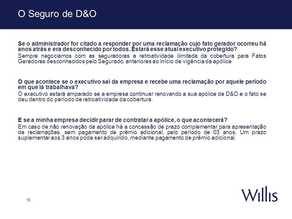16 O Seguro de D&O Se o administrador for citado a responder por uma reclamação cujo fato gerador ocorreu há anos atrás e era desconhecido por todos.