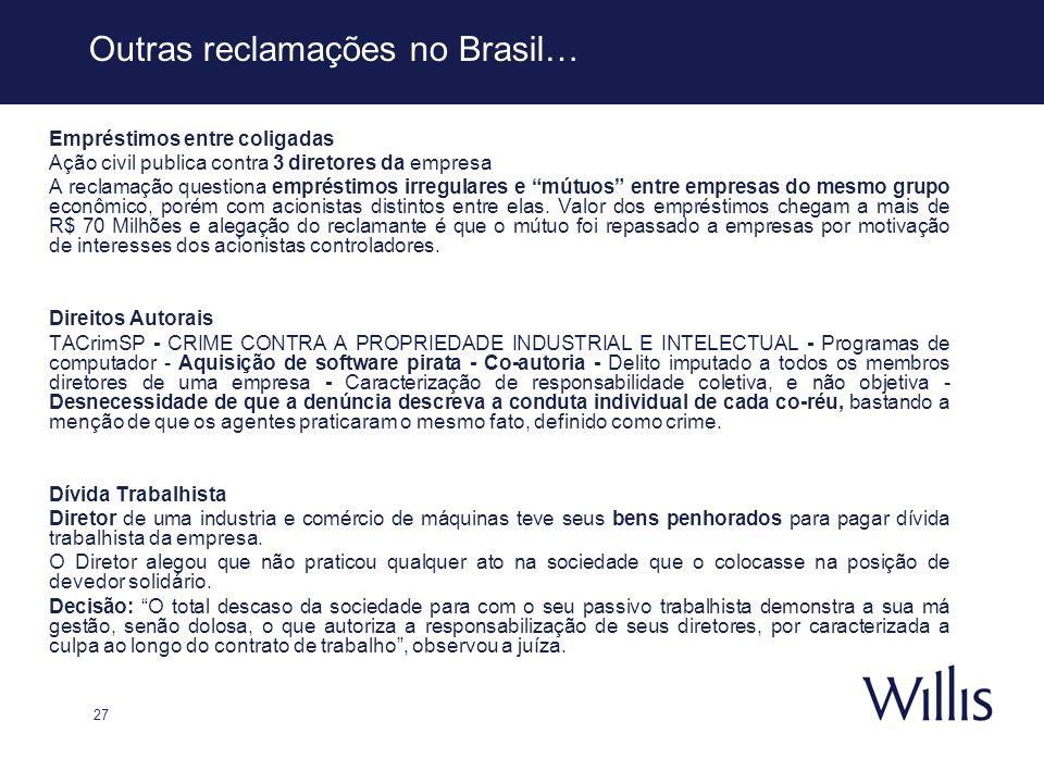 27 Outras reclamações no Brasil… Empréstimos entre coligadas Ação civil publica contra 3 diretores da empresa A reclamação questiona empréstimos irreg