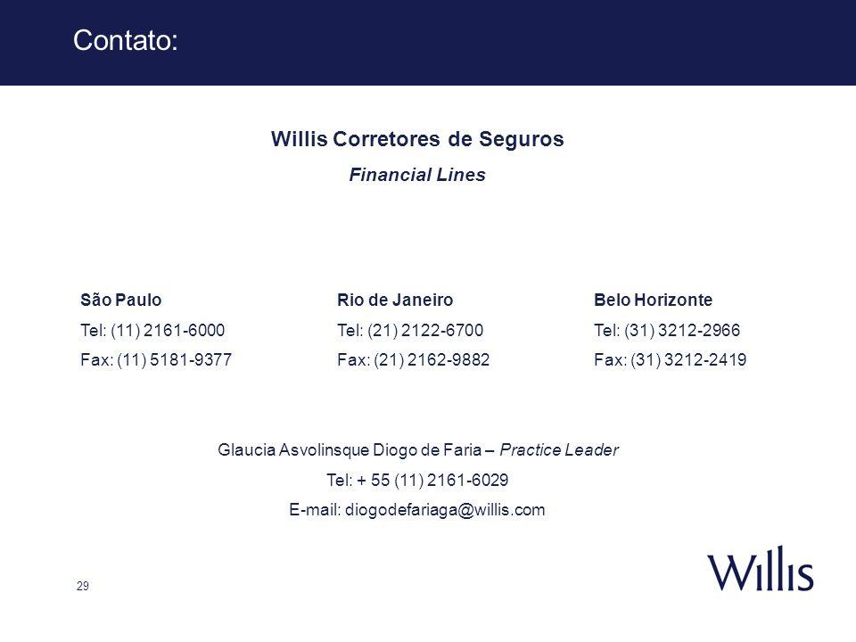 29 Contato: Willis Corretores de Seguros Financial Lines São PauloRio de JaneiroBelo Horizonte Tel: (11) 2161-6000Tel: (21) 2122-6700Tel: (31) 3212-29