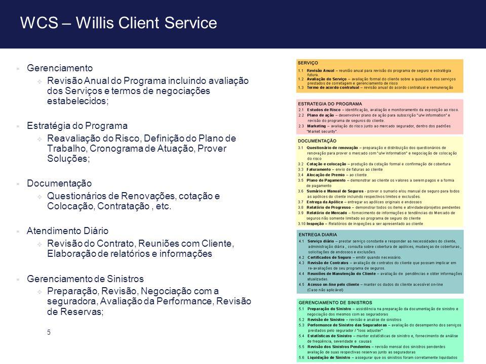 5 WCS – Willis Client Service Gerenciamento Revisão Anual do Programa incluindo avaliação dos Serviços e termos de negociações estabelecidos; Estratég