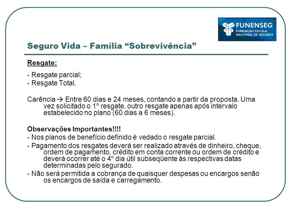 Seguro Vida – Família Sobrevivência Resgate: - Resgate parcial; - Resgate Total.