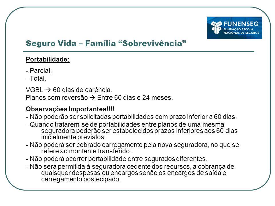 Seguro Vida – Família Sobrevivência Portabilidade: - Parcial; - Total.
