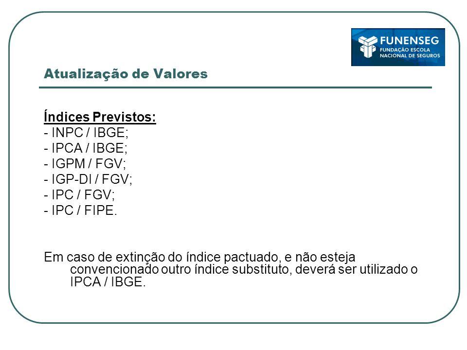 Atualização de Valores Índices Previstos: - INPC / IBGE; - IPCA / IBGE; - IGPM / FGV; - IGP-DI / FGV; - IPC / FGV; - IPC / FIPE.