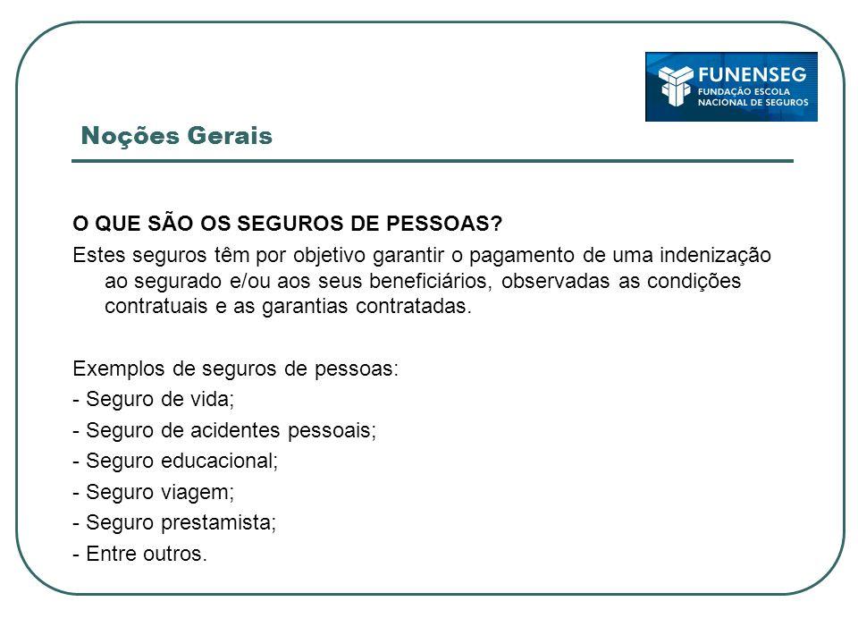 Noções Gerais O QUE SÃO OS SEGUROS DE PESSOAS.