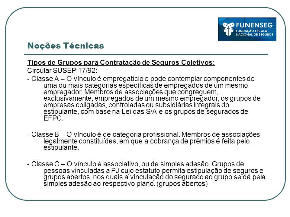 Noções Técnicas Tipos de Grupos para Contratação de Seguros Coletivos: Circular SUSEP 17/92: - Classe A – O vínculo é empregatício e pode contemplar componentes de uma ou mais categorias específicas de empregados de um mesmo empregador.