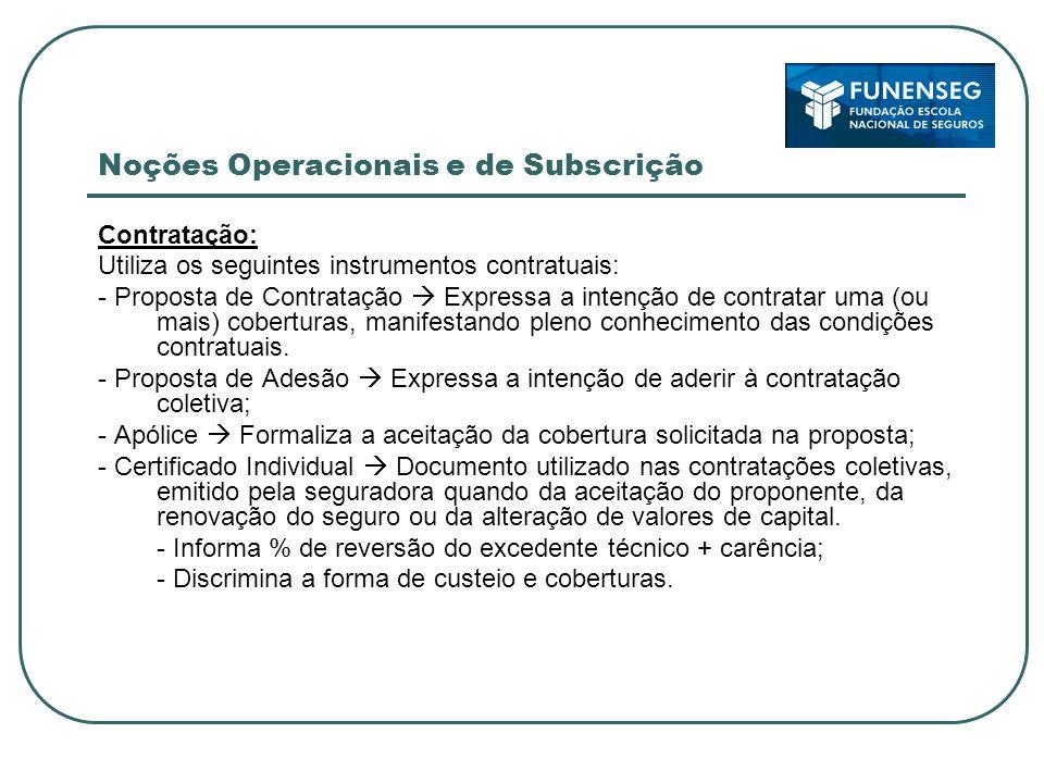 Noções Operacionais e de Subscrição Contratação: Utiliza os seguintes instrumentos contratuais: - Proposta de Contratação Expressa a intenção de contratar uma (ou mais) coberturas, manifestando pleno conhecimento das condições contratuais.
