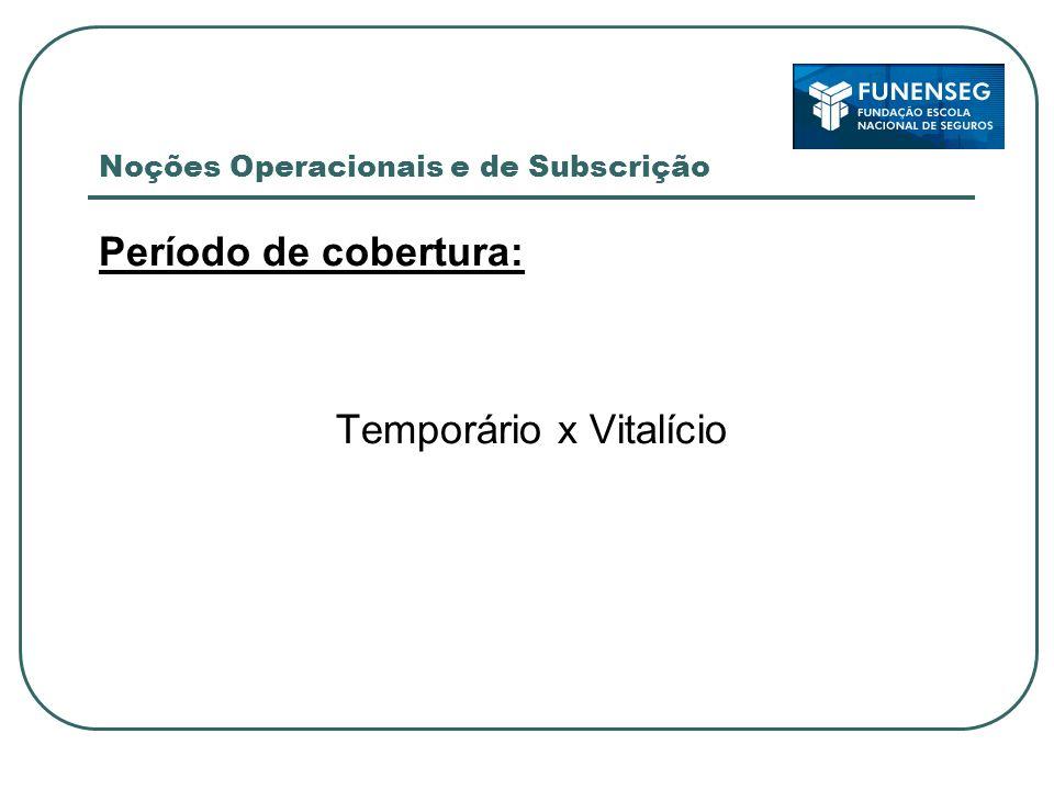 Noções Operacionais e de Subscrição Período de cobertura: Temporário x Vitalício