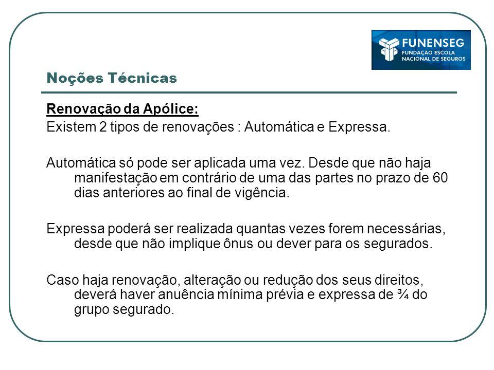 Noções Técnicas Renovação da Apólice: Existem 2 tipos de renovações : Automática e Expressa.