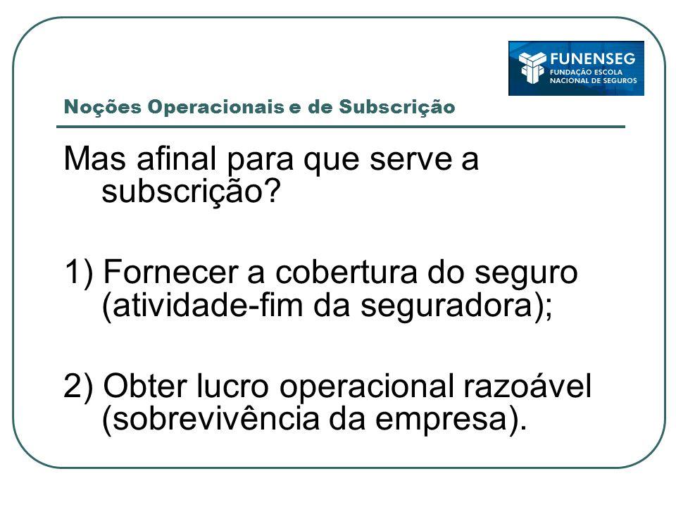 Noções Operacionais e de Subscrição Mas afinal para que serve a subscrição.