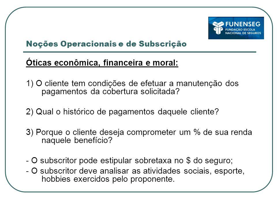 Noções Operacionais e de Subscrição Óticas econômica, financeira e moral: 1) O cliente tem condições de efetuar a manutenção dos pagamentos da cobertura solicitada.