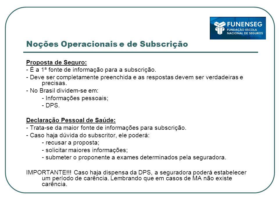 Noções Operacionais e de Subscrição Proposta de Seguro: - É a 1ª fonte de informação para a subscrição.