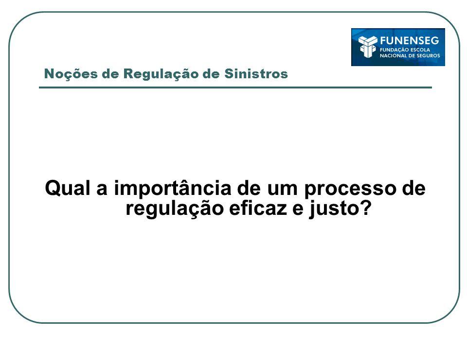 Noções de Regulação de Sinistros Qual a importância de um processo de regulação eficaz e justo