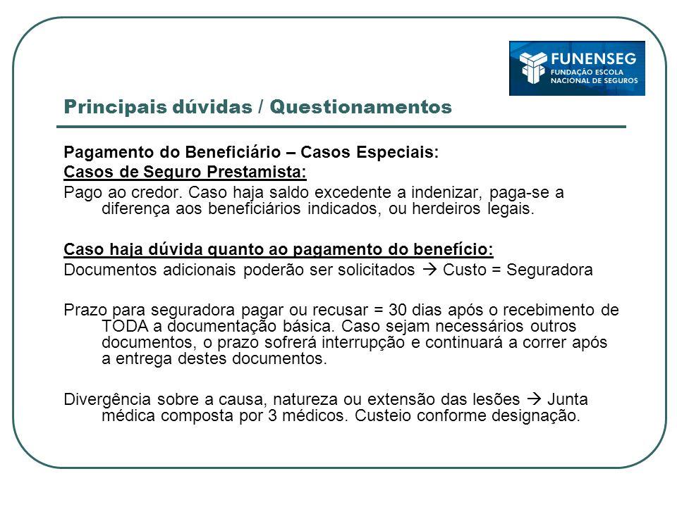Principais dúvidas / Questionamentos Pagamento do Beneficiário – Casos Especiais: Casos de Seguro Prestamista: Pago ao credor.