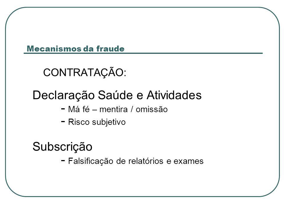 CONTRATAÇÃO: Declaração Saúde e Atividades - Má fé – mentira / omissão - Risco subjetivo Subscrição - Falsificação de relatórios e exames Mecanismos da fraude