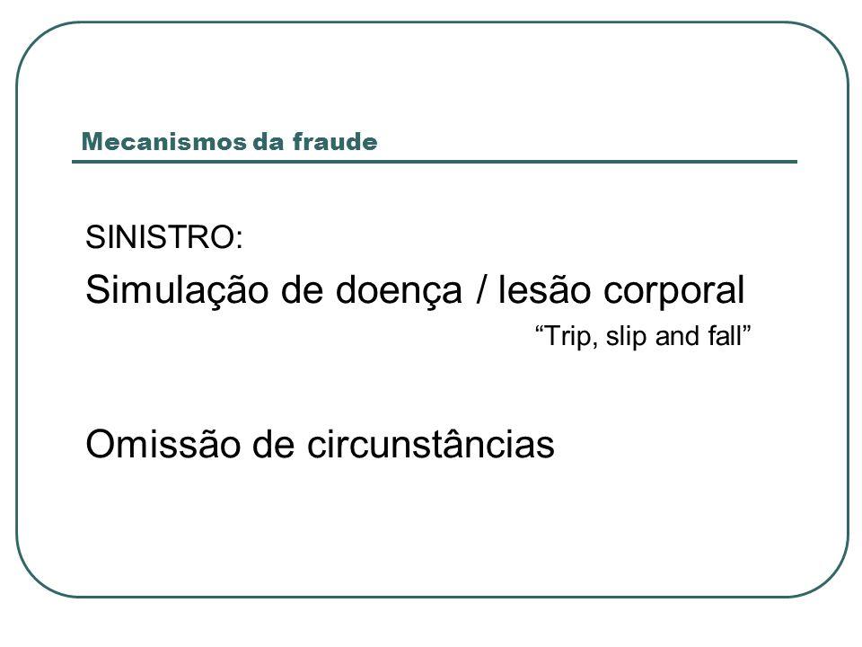 SINISTRO: Simulação de doença / lesão corporal Trip, slip and fall Omissão de circunstâncias Mecanismos da fraude