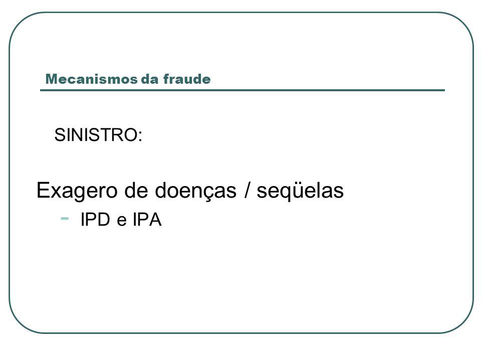 SINISTRO: Exagero de doenças / seqüelas - IPD e IPA Mecanismos da fraude