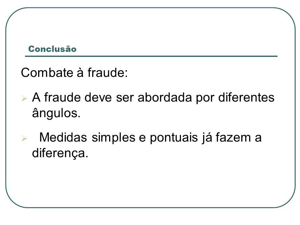 Conclusão Combate à fraude: A fraude deve ser abordada por diferentes ângulos.