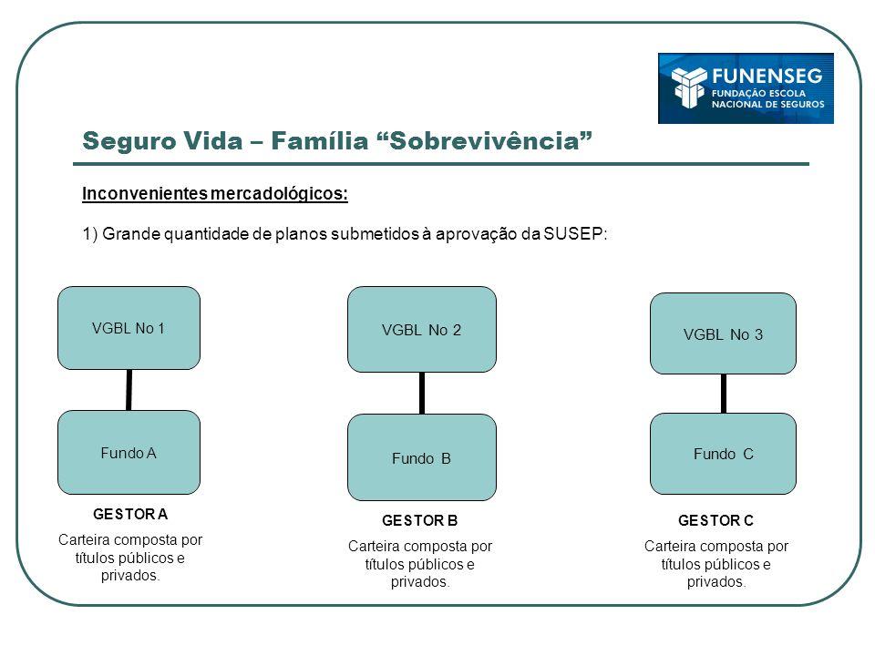 Seguro Vida – Família Sobrevivência Inconvenientes mercadológicos: 1) Grande quantidade de planos submetidos à aprovação da SUSEP: VGBL No 2 Fundo B GESTOR A Carteira composta por títulos públicos e privados.